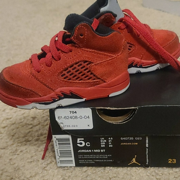 Baby Boy Jordan Size 5 Red Infant Retro